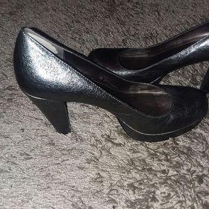 """Calvin Klein """"Scarlet"""" Silver Platform Heels"""